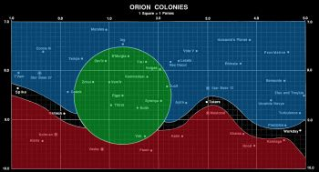 Map of the Orion Colonies (FASA 2008A; Original B&W Image)